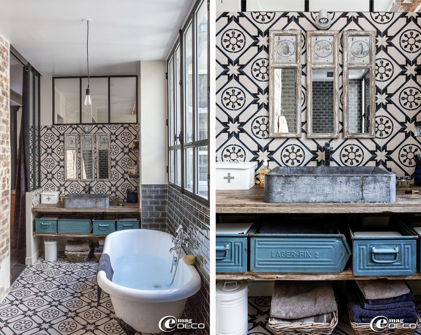 Un loft parisien lov autour d 39 une cour e magdeco for Verriere de salle de bain
