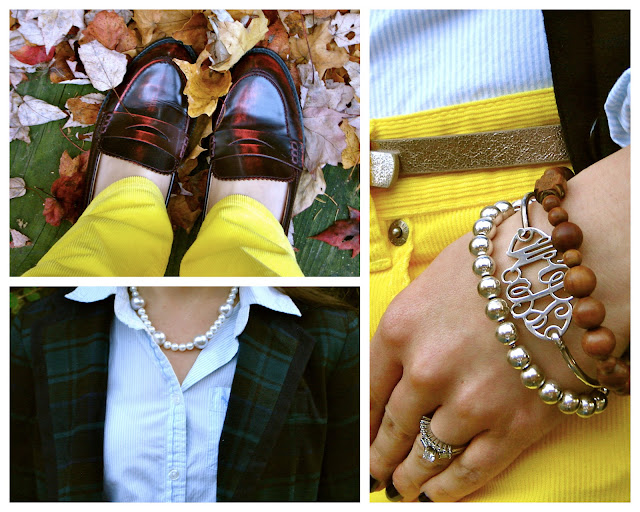 preppy outfit, fall outfit, striped oxford, tartan blazer, preppy, classic, J. Crew matchstick cords, corduroys, yellow pants, penny loafers, shoemint, monogram bracelet, rosary bracelet, pearls