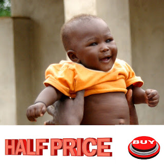 Infographic with black baby and half price sale sign