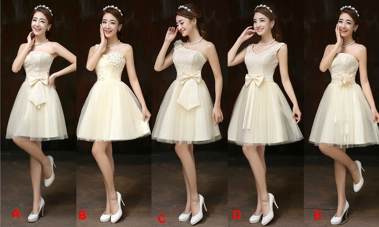 Five-Design Golden Cream Tutu Bridesmaids Midi Dress