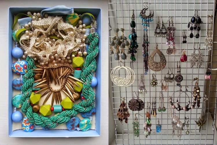 Jewellery organisation, necklace and earring organization, repurposed
