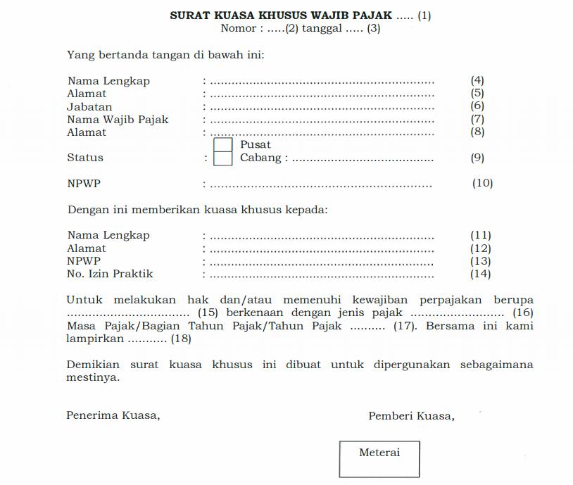 Contoh Surat Kuasa menurut Peraturan Menteri Keuangan nomor 229/PMK.03/2014