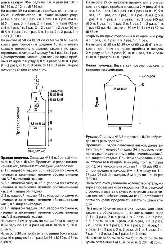 Ажурный жакет связан спицами 3,5. Пряжа Linen.  Схема вязания ажурного жакета спицами.