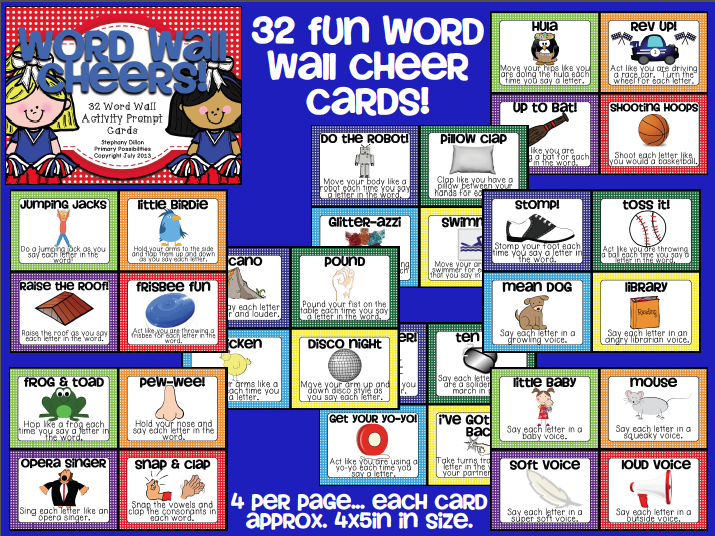 http://www.teacherspayteachers.com/Product/Word-Wall-Cheer-Cards-803180