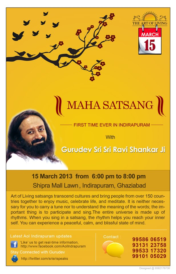 Maha Satsang with Sri Sri Ravi Shankar in Ghaziabad: March 2013