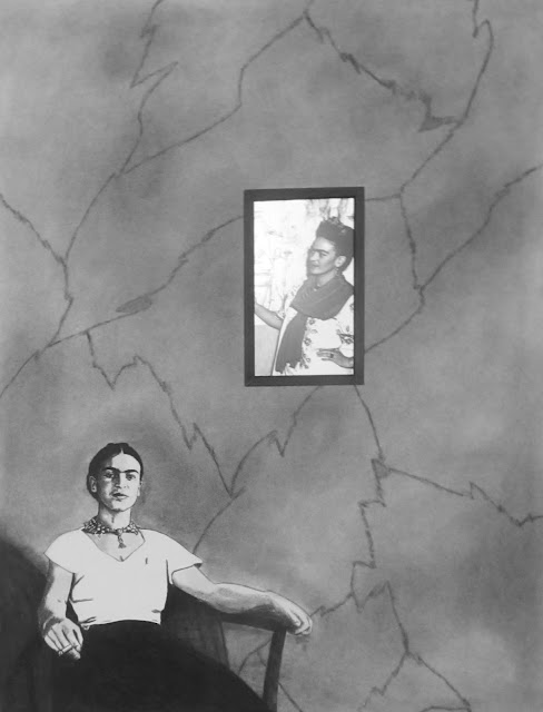 """""""Frida with Fridas"""" Charcoal, Conte and Embedded Electronics on Paper  24x18 inches, c. 2015 - By F. Lennox Campello"""