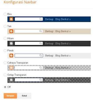 cara baru menghilangkan navbar blog