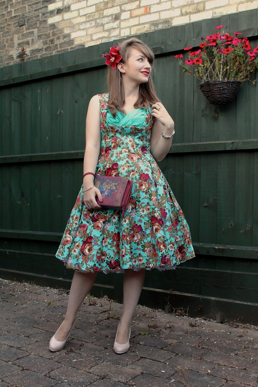 Lindy Bop Ophelia dress in turquoise floral