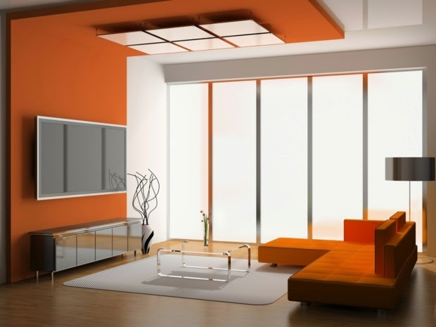 Modern Living Room Color Schemes 2015: Orange Living Room