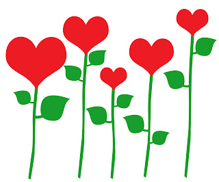 red heart flowers with green leafs leaves and stems can be used as a border