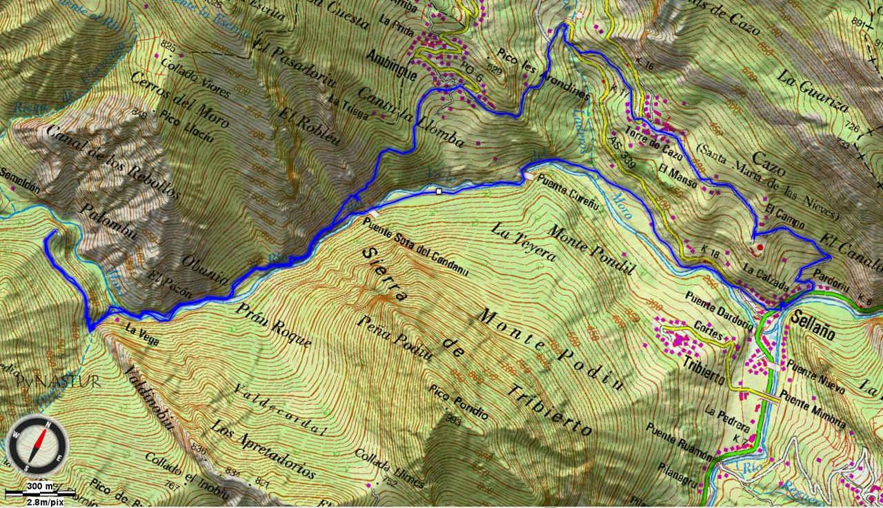 Mapa 2 - Sellaño a Semeldón - Parque Natural de Ponga