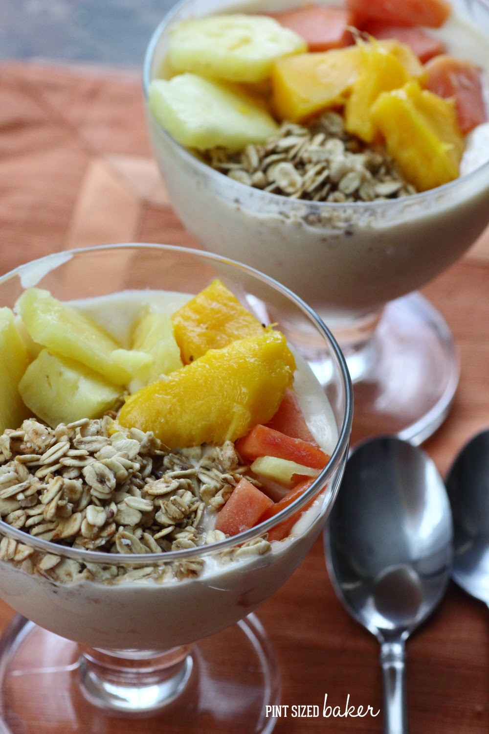 I'm loving these tropical smoothie bowls with fresh pineapple, mango, and papaya with added crunchy granola. It's a great way to fuel up to get the day going.