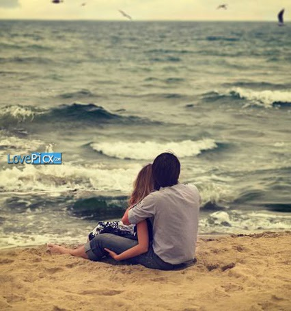Romantic Cute Couple In Love Sad Alone beach