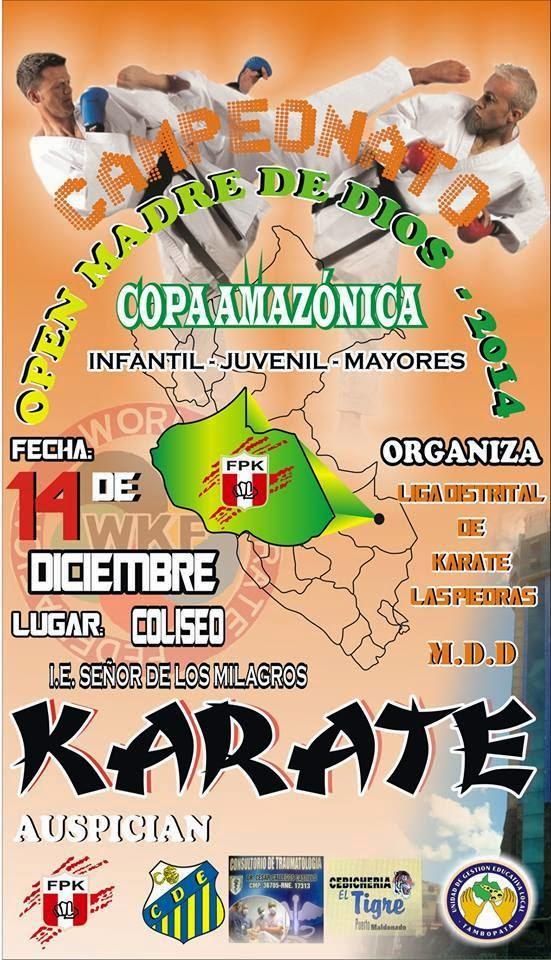 """CAMPEONATO DE KARATE OPEN MADRE DE DIOS 2014  """"Copa Amazonica""""  Madre de Dios-Perú"""