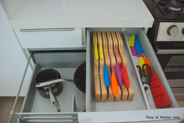 interior organization of Ikea kitchen cabinets and drawers