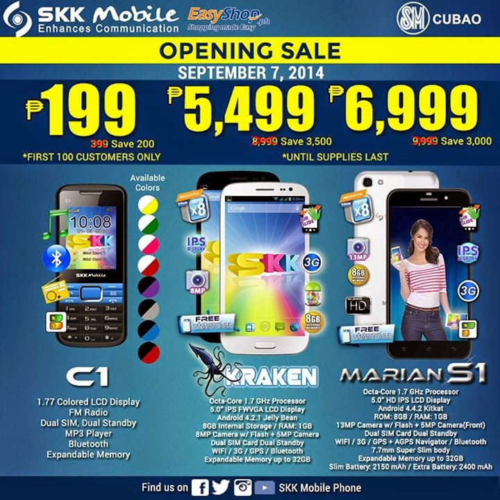 SKK Mobile Opening Sale in SM Cubao on September 7