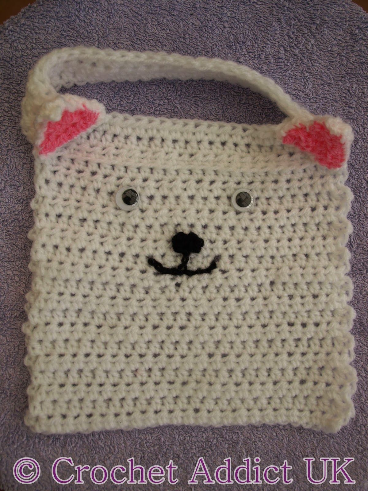 Cat baby bib free crochet pattern crochet addict uk the pattern is in us terms items required 4mm 6 and 5mm h hooks if you dont have a 4mm 6 hook use a 425mm g hook double knit 8 ply white bankloansurffo Image collections
