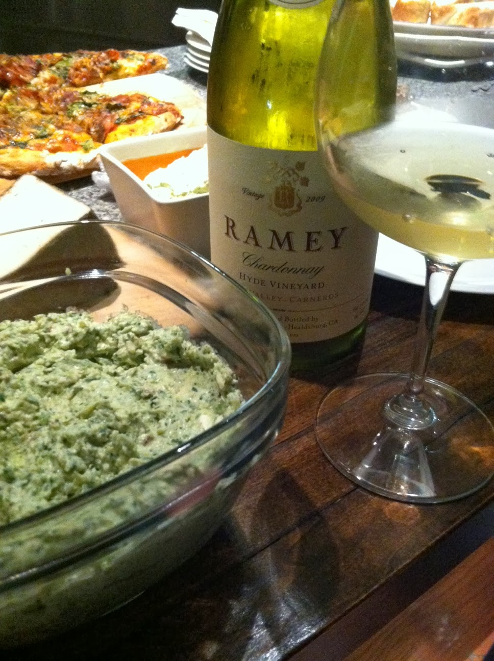 Artichoke dip and other appetizers served with Ramey Napa Chardonnay