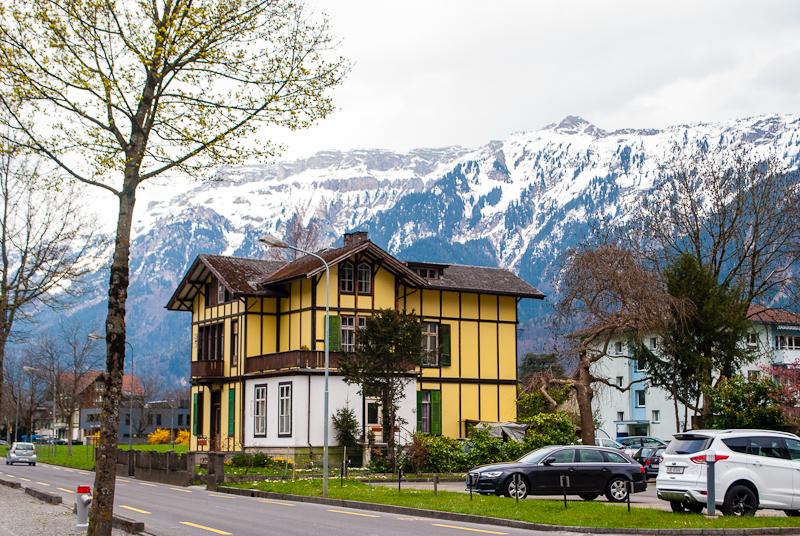 Mountain in the background of interlaken switzerland