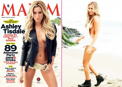 Ashley Tisdale topless in Maxim