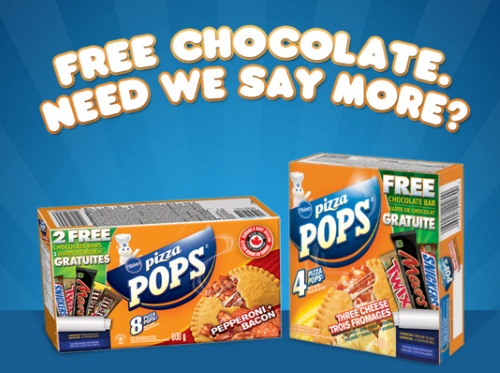 Mars Free Chocolate on Pillsbury Pizza Pops Boxes