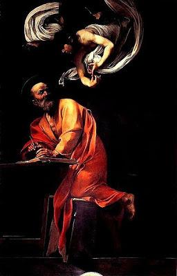L'angelo appare dall'alto a San Matteo che, in ginocchio su uno sgabello, scrive qualcosa piegato sul suo tavolino. Il santo appare turbato e sorpreso dall'apparizione dell'angelo.