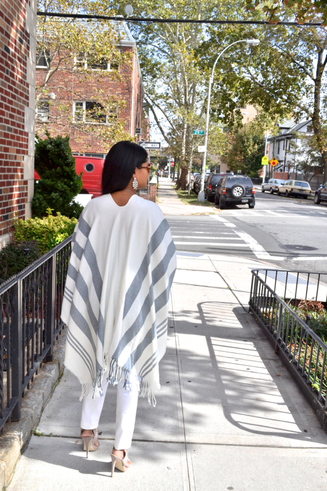 gray and white poncho fall trends
