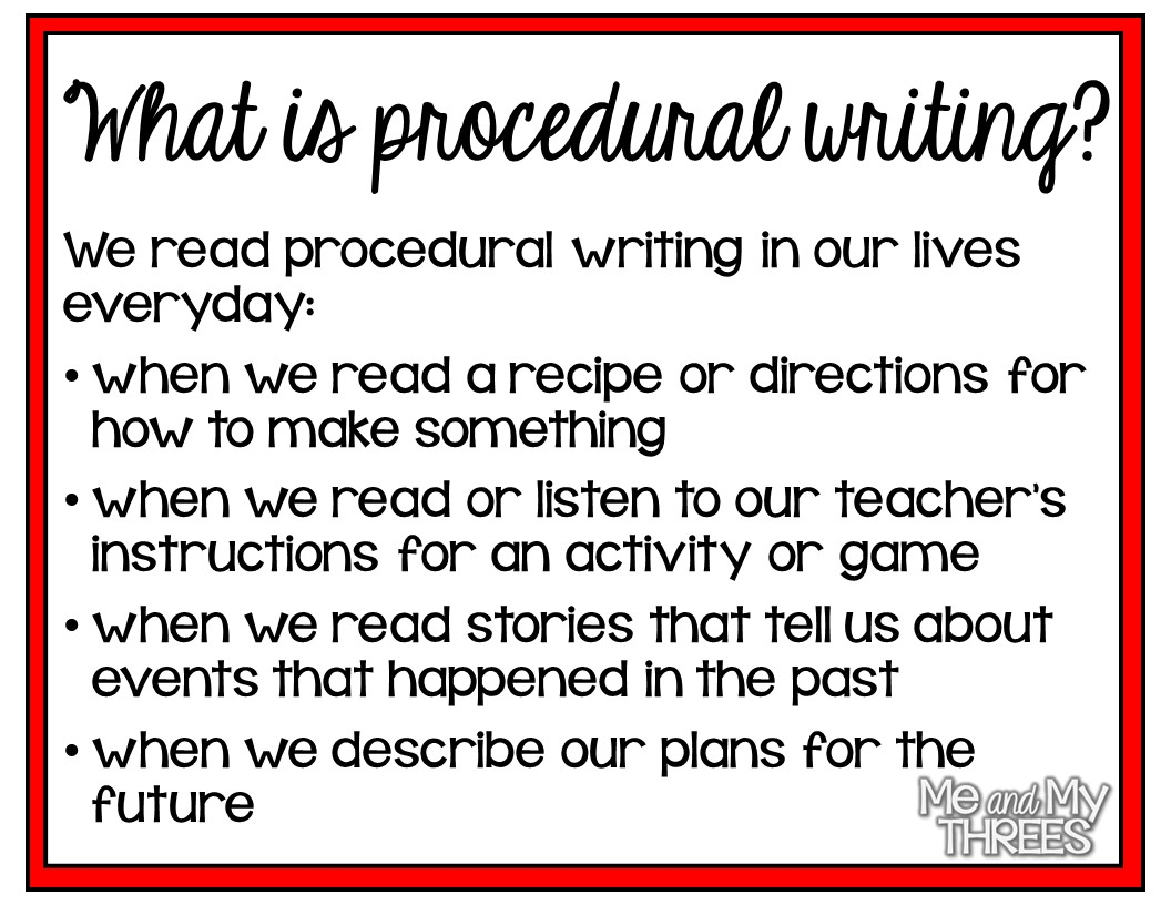 procedural writing Procedural writing assignment : due to the success of the boys' book and the girls' book: how to be the best at everything, scholastic would like to release a book.