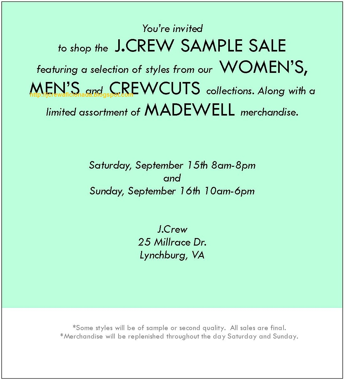 J.Crew Aficionada: J.Crew September Sample Sale