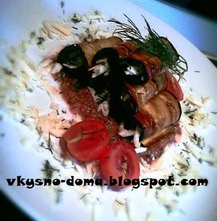 Закуска из баклажан с сыром сулугуни