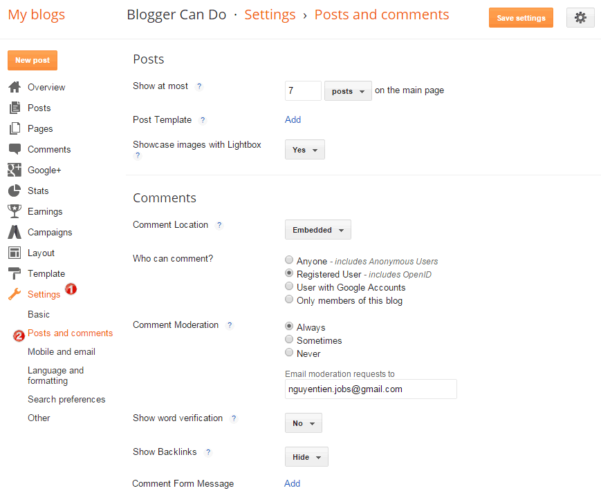 Dashboard Page - Blogger Posts and Comments Settings