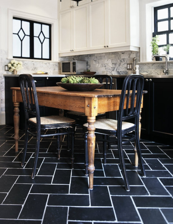 Farmhouse Brick Flooring Tile : Black and white tiles kitchen grasscloth wallpaper
