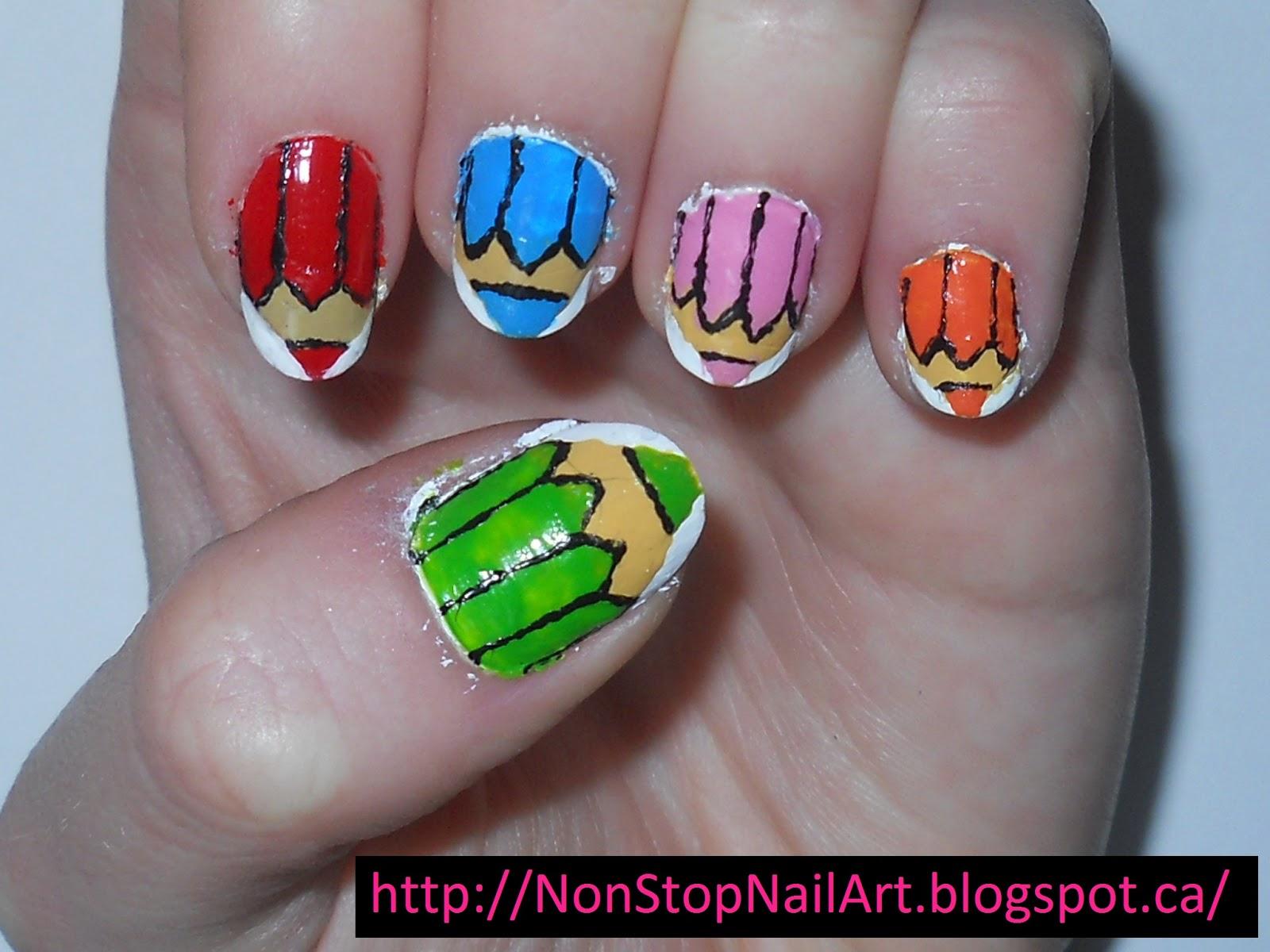 Non-Stop Nail Art: Coloured Pencil Nails!