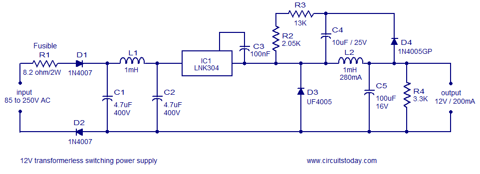 Engineering Projects  12v  120ma Switch Mode Power Supply
