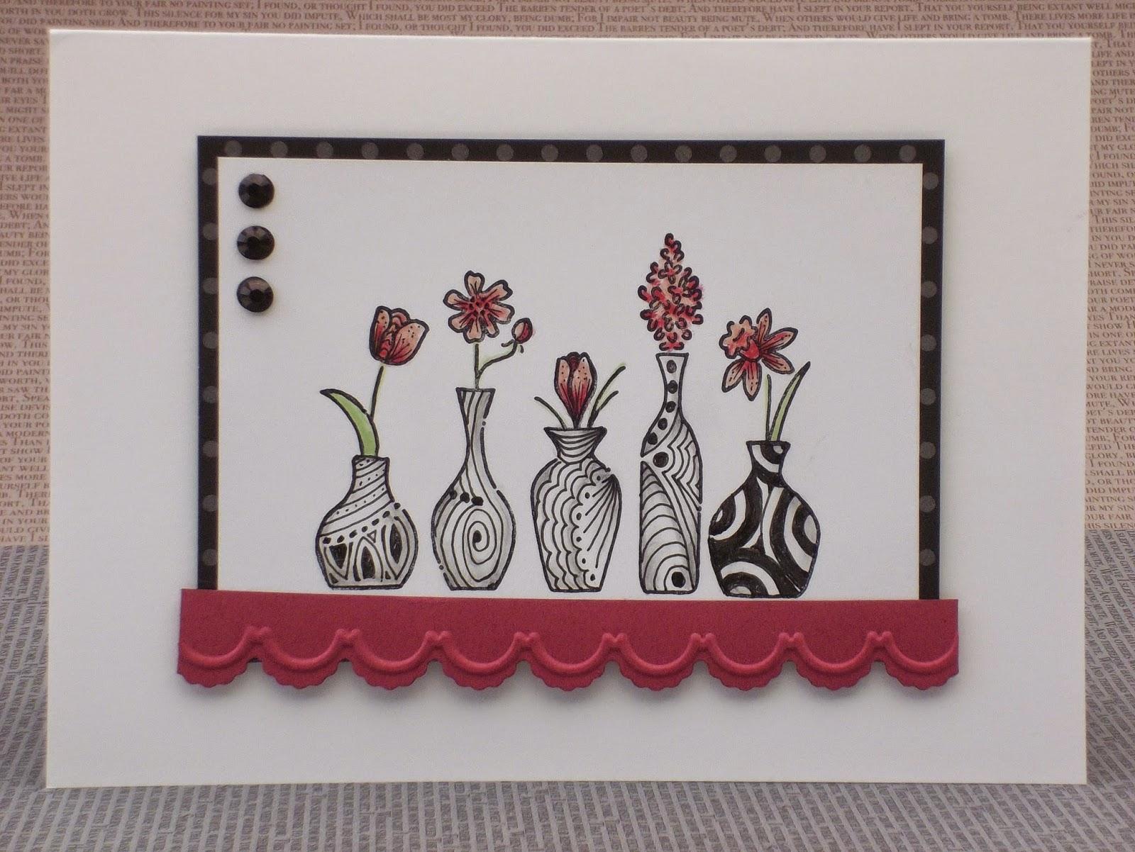 Vivid Vases Zentangled