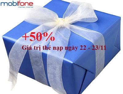 Cộng ngay 50% thẻ nạp Mobifone vào ngày 22 - 23/11