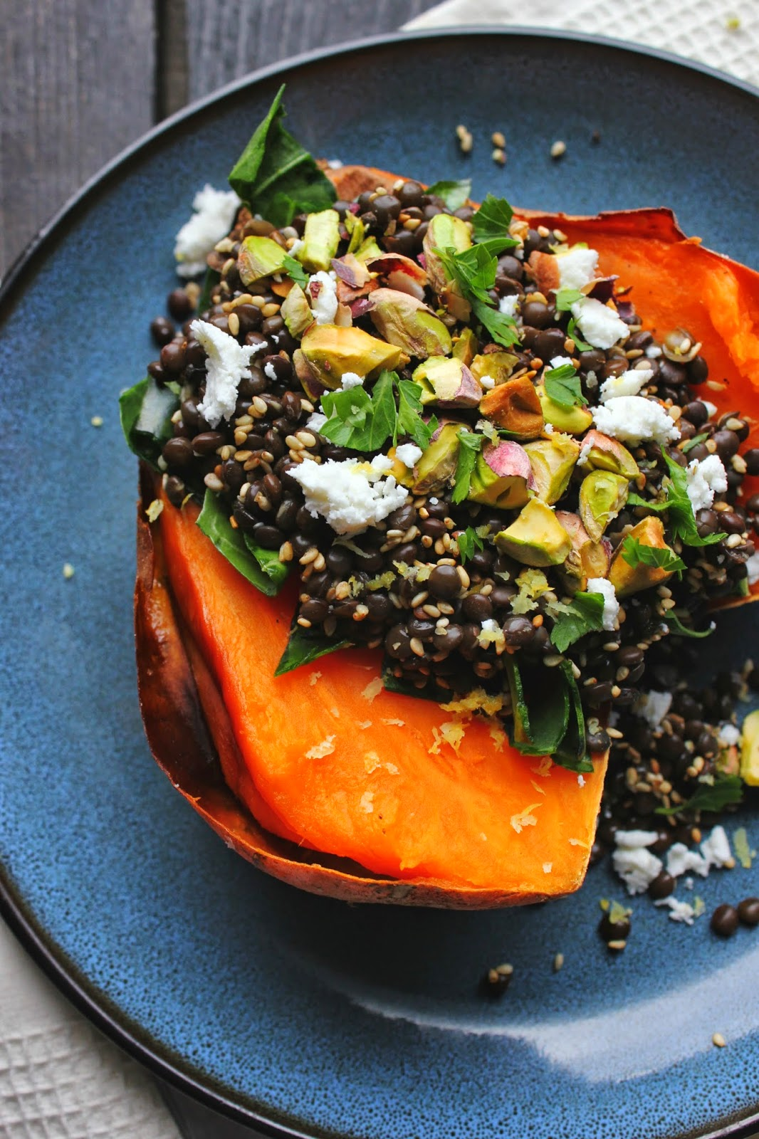 Lentil Stuffed Sweet Potatoes with Chard, Feta & Pistachios | happy hearted kitchen