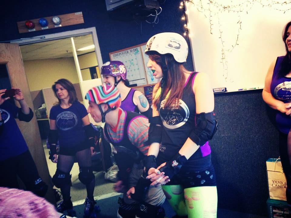 derby girls getting ready to hit DJ