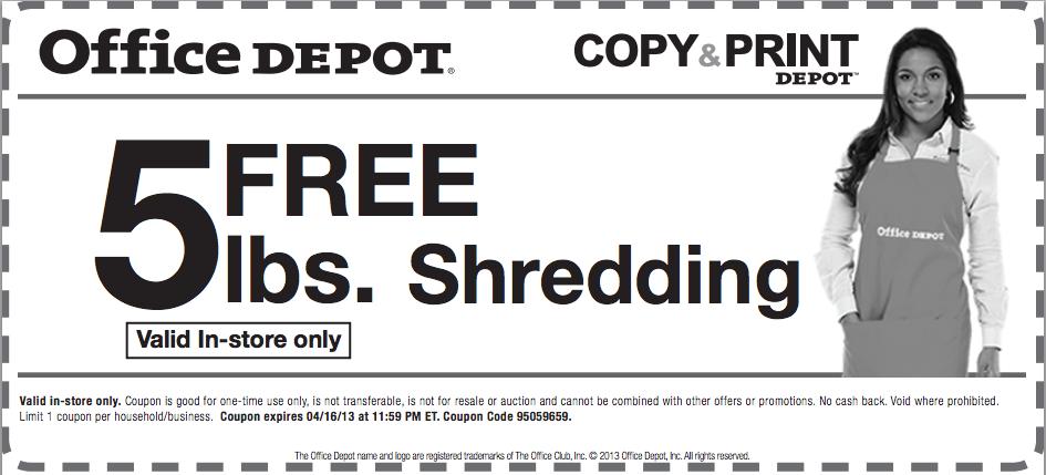 Office Depot Coupons 2016 Shredding