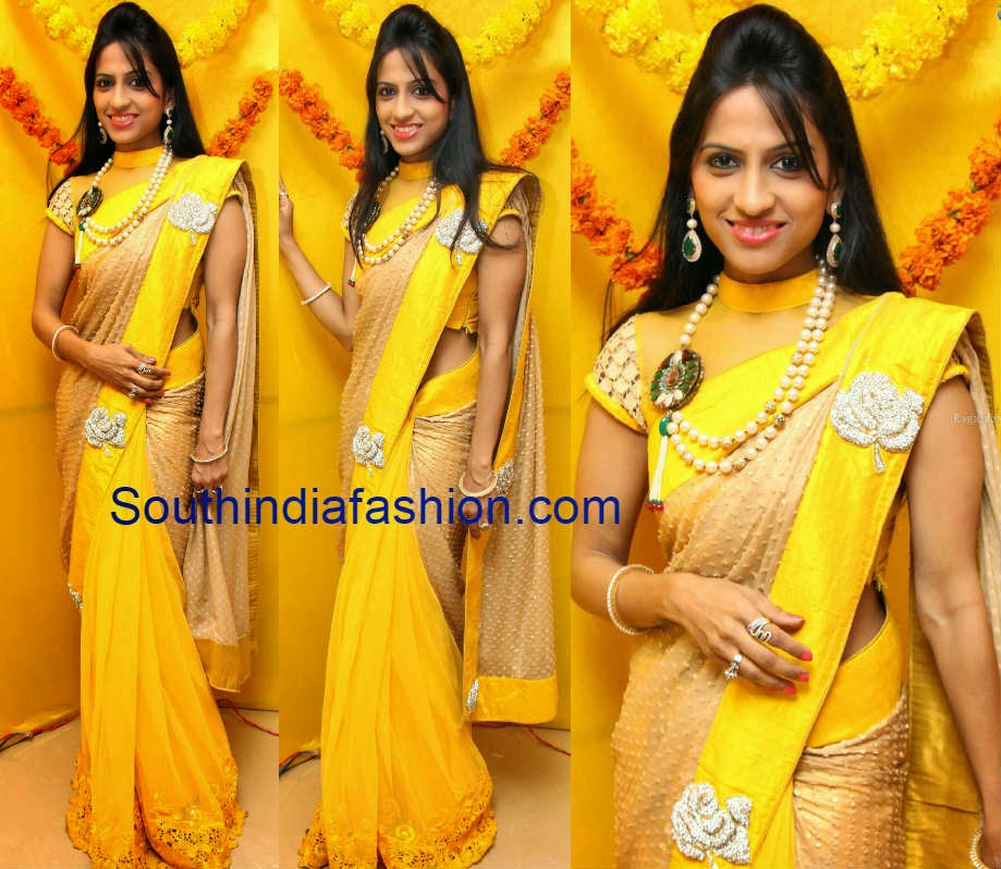 celebrity half and half saree
