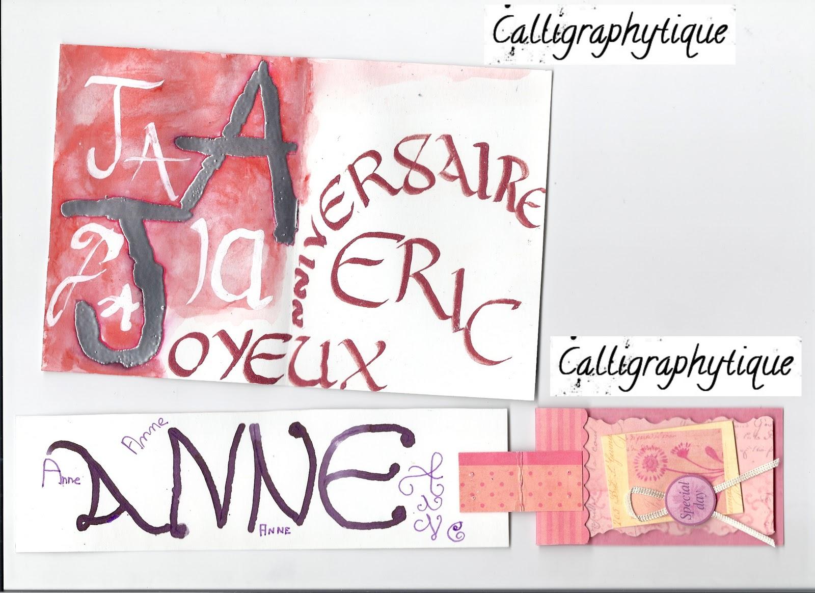 Carte Anniversaire Eric.Calligraphytique Carte Marque Page Et Autres
