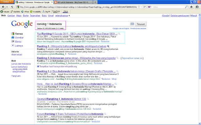 Hasil Posting Top Ranking 1 Google 2011 Setelah 96 Jam di Google Indonesia - Ranking 1 Indonesia