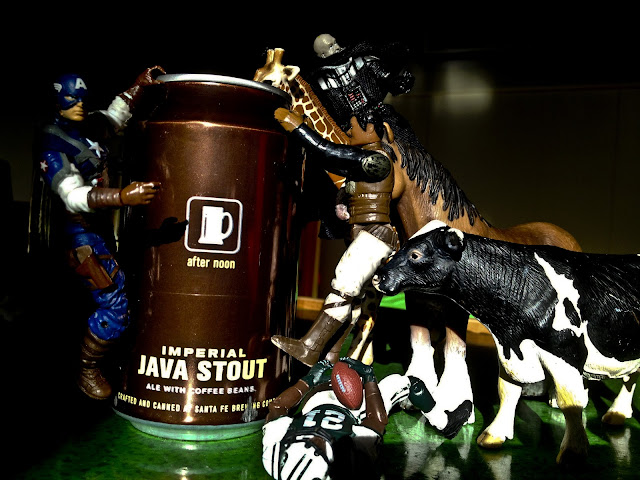 Lando Calrissian, Captain America, Ladainian Tomlinson, Darth Vader, a cow, a giraffe and a horse trying to get some Java Stout.