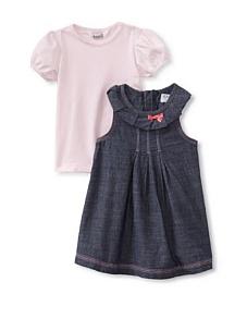 MyHabit: Save Up to 60% off Kanz for Baby Girls: 2-Piece Dress and Tee Set - Cute denim dress with pintucks and pleating, back zipper, soft knit tee with snap closure on shoulder