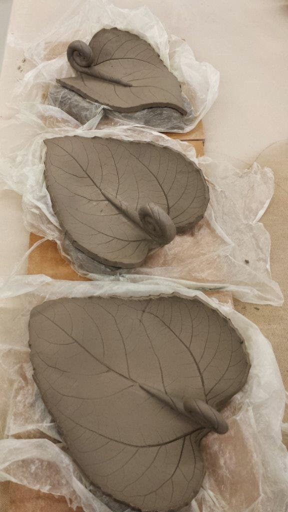 Ceramic sunflower leaf bowls, in progress.