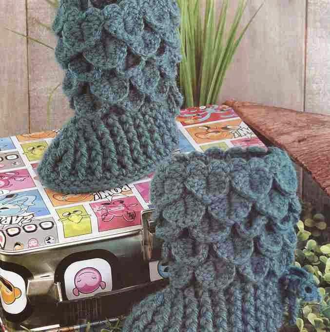Boticas en punto de cocodrilo a Crochet o Ganchillo