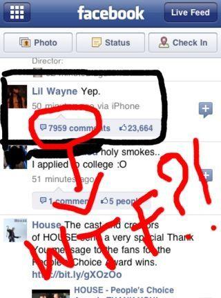 Lil Wayne Facebook - yep wtf
