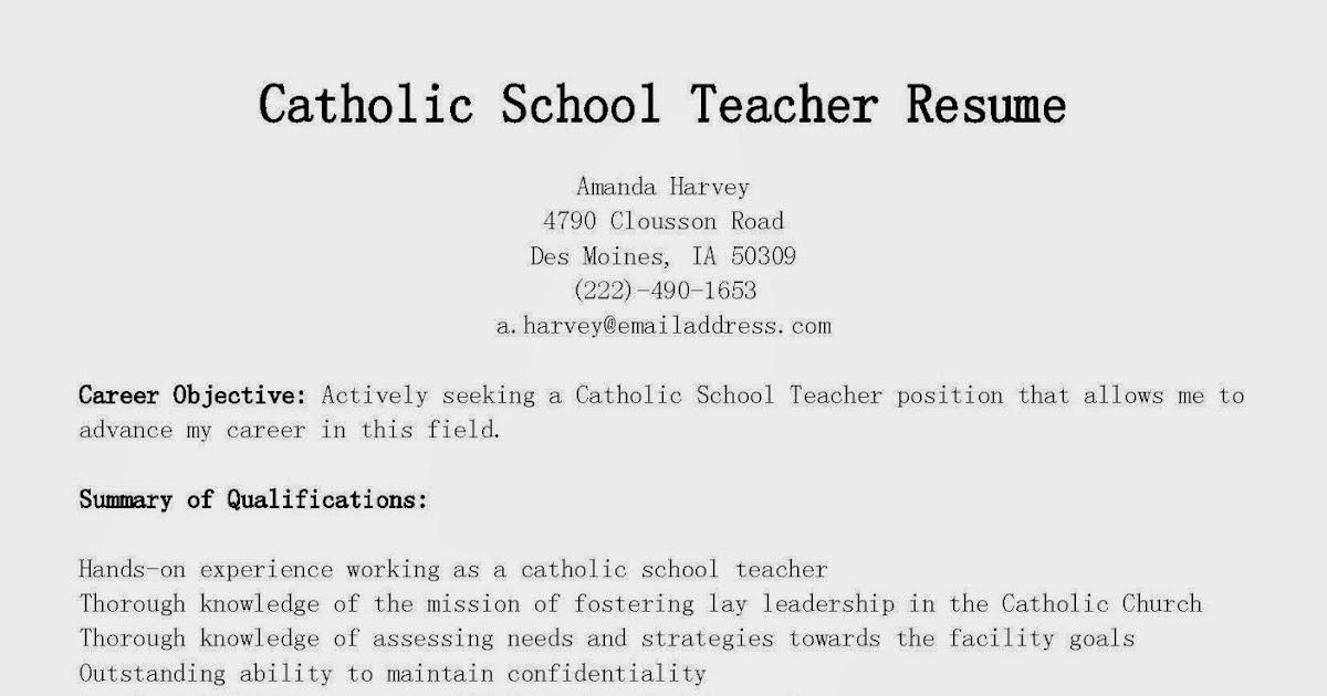 resume sles catholic school resume sle