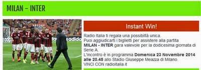 Vinci biglietti partita Milan Inter