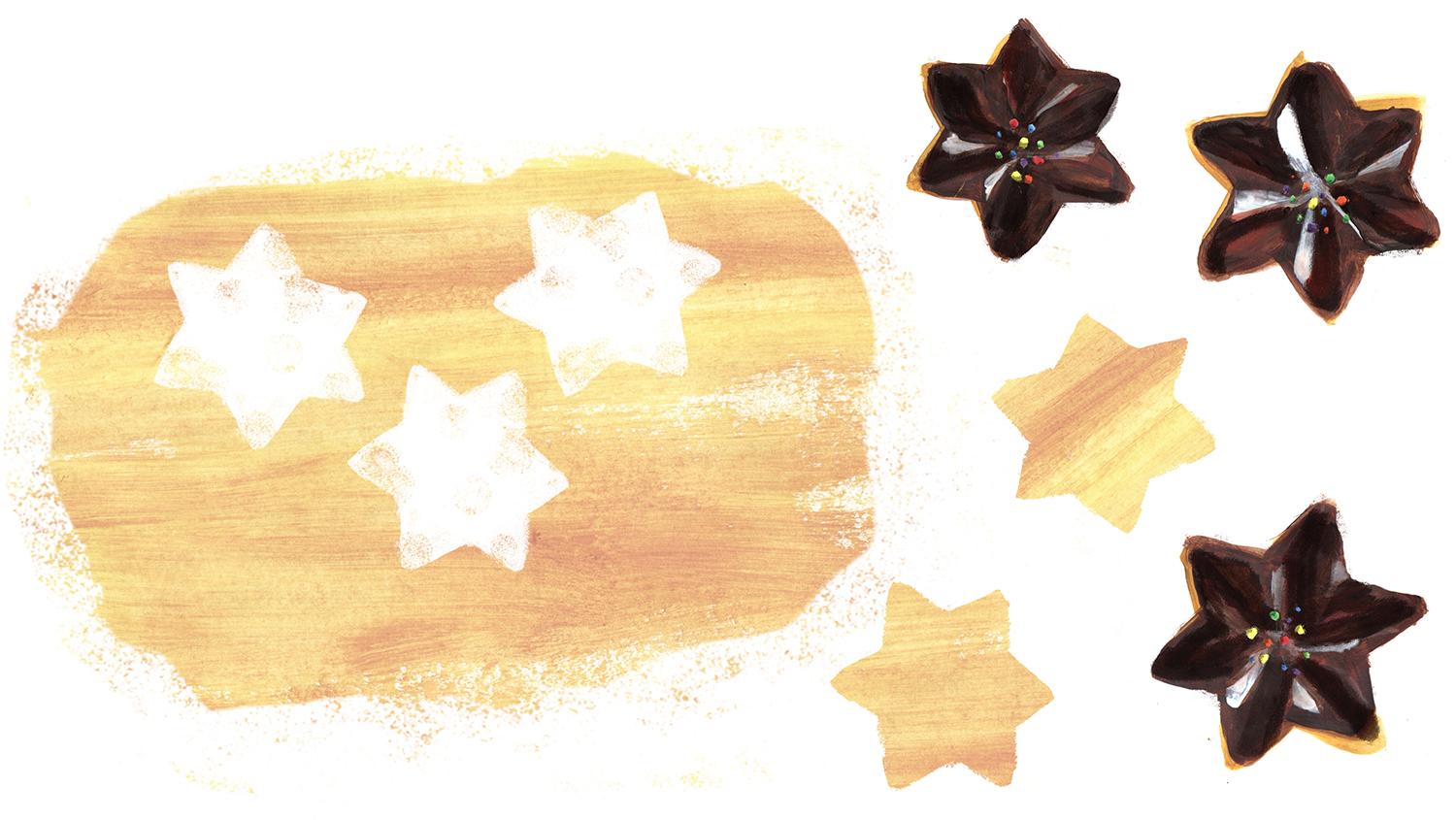 Chocolate Dipped Shortbread Cookies, Lauren Monaco Illustration